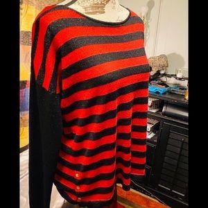 Dana Buchman black/red metallic light sweater